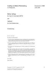 Landtag von Baden-Württemberg Kleine Anfrage Antwort