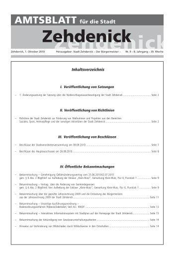 Inhaltsverzeichnis - Zehdenick