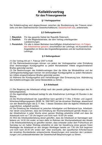 Kollektivvertrag Für Das Friseurgewerbe 1 Vertragspartner 2