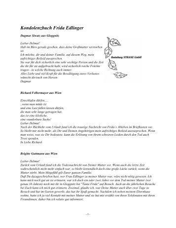 Kondolenzbuch Frida Edlinger - Bestattung STRANZ Grafenbach
