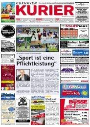 """""""Sport ist eine Pflichtleistung"""" - Cuxhavener und Hadler Kurier"""