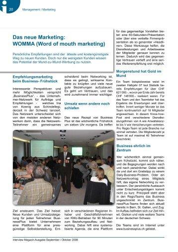 Das neue Marketing: WOMMA (Word of mouth ... - Businessplus