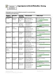 Liste mit Ansprechpartnern im Bereich Öko-Beratung