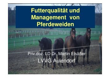 Pferde und Weidemanagement