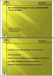 Erneuerbare Energie in der Landwirtschaft (Focus Biogas)