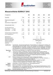 Wasserenthärter BURKO F 2910 - Burkhalter AG