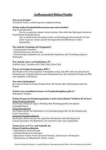 Vorbereitung schriftlich - Lange & Ohlemeyer