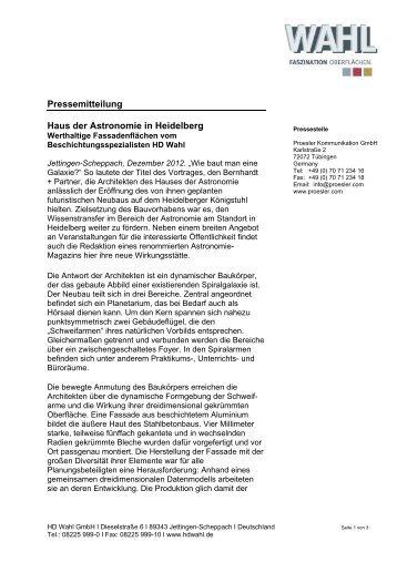 Pressemitteilung Haus der Astronomie in Heidelberg - HD-Wahl