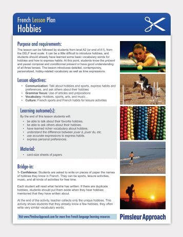 French Lesson Plan Hobbies - Pimsleur Approach