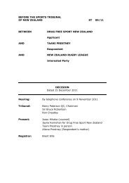 ST 0911 Decision - Sports Tribunal of New Zealand