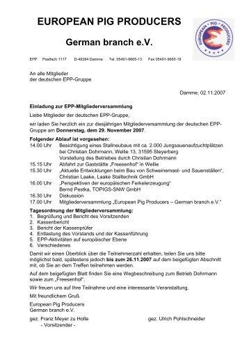 EUROPEAN PIG PRODUCERS German branch eV