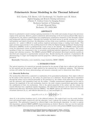Polarimetric Scene Modeling in the Thermal Infrared - Center for ...