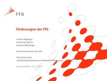 Universitäten als Partner in FFG-Projekten - Universität Wien