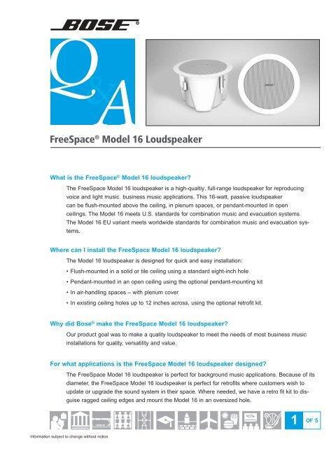 FreeSpace DS 16F Loudspeaker | Bose Professional