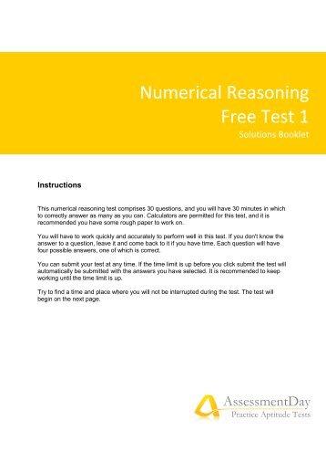 Numerical Reasoning Test 1 Solutions (PDF)   Aptitude Test  Aptitude Test Free