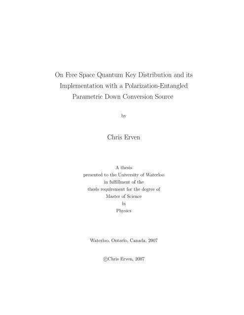 quantum key distribution thesis