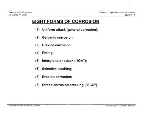 Eight Forms Of Corrosion Canteach