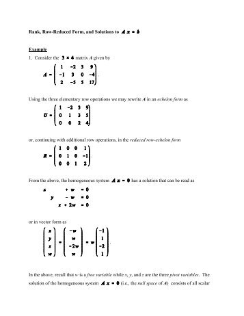 THE REDUCED ROW ECHELON FORM OF A MATRIX IS UNIQUE ...