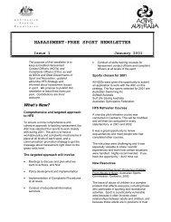 Harassment-Free Sport Newsletter - Issue 1 2001 - Australian Sports ...