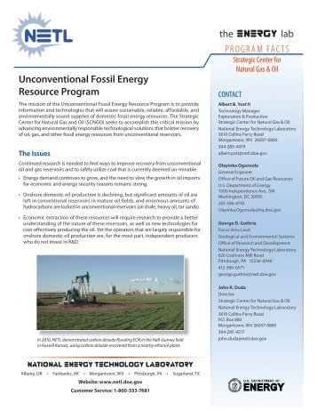 Unconventional Fossil Energy Resource Program - National Energy ...