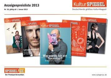 Preisliste 2013 KulturSPIEGEL - Spiegel-QC