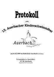 zum am 01.02.2009 im Hallenbad Auerbach (25m ... - SV 08 Auerbach