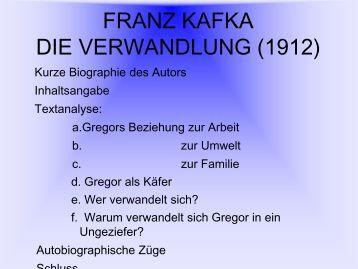 franz kafka die verwandlung liceo quadri - Franz Kafka Lebenslauf