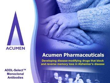 Licensing Opportunities - Acumen Pharmaceuticals