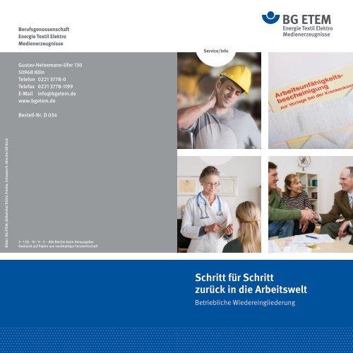 Betriebliche Wiedereingliederung - Die BG ETEM
