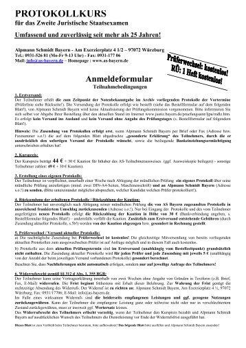 ALPMANN SCHMIDT Prüfungsprotokolle 1. Juristisches Examen ...
