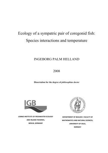 Ecology of a sympatric pair of coregonid fish: Species ... - NINA