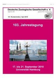 103. Jahrestagung - Deutsche Zoologische Gesellschaft