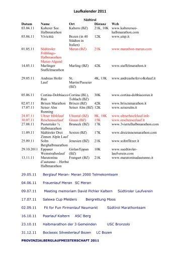 Laufkalender 2011 (2) - ASC Algund