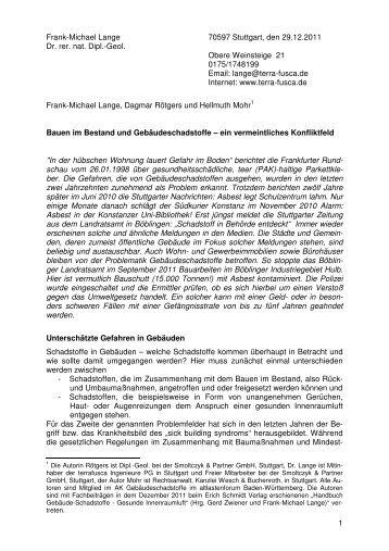 1 Frank-Michael Lange 70597 Stuttgart, den 29.12.2011 Dr. rer. nat ...