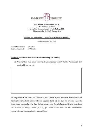 1 Prof. Frank Westermann, Ph.D. Dr. Andreas Steiner Fachgebiet ...