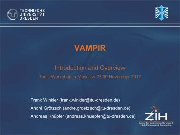 Trace Analysis with Vampir - VI-HPS