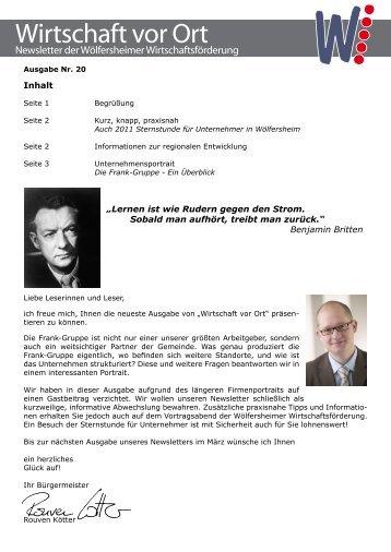 20 Wirtschaft vor Ort - Newsletter Nr 20.pdf - Gemeinde Wölfersheim