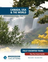 Canada, Usa & The World Fully Escorted Tours - Anderson Vacations