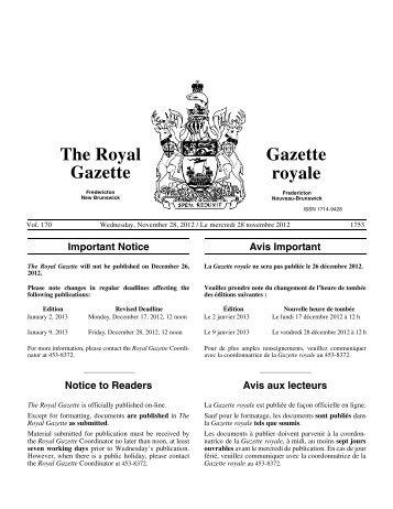 The Royal Gazette / Gazette royale - Gouvernement du Nouveau ...