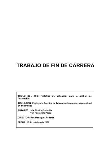 Prototipo de aplicación para la gestión de facturación (Franet)