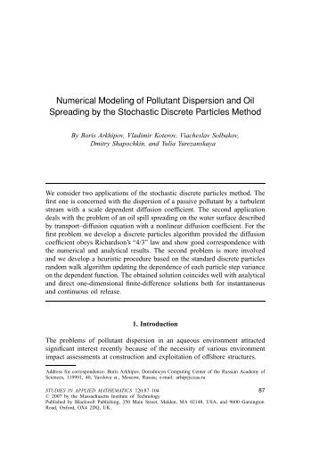 Numerical Modeling of Pollutant Dispersion and ... - bib tiera ru static