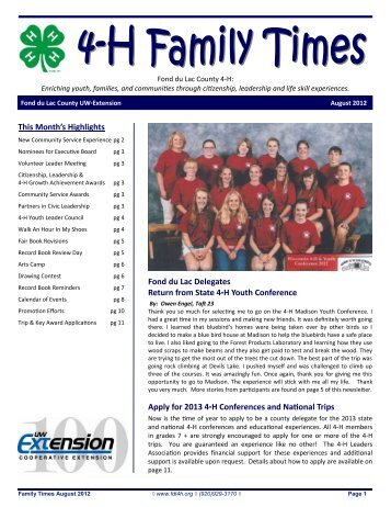 4-H Family Times August Newsletter - Fond du Lac County ...