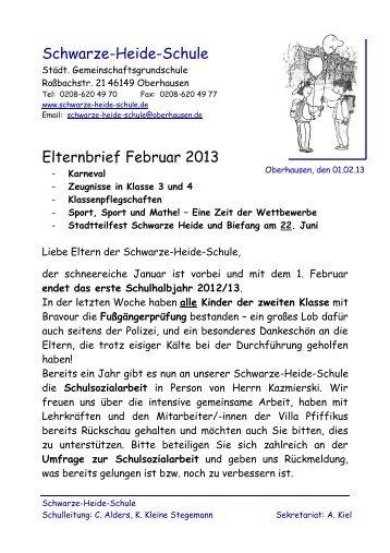 Schwarze-Heide-Schule Elternbrief Februar 2013