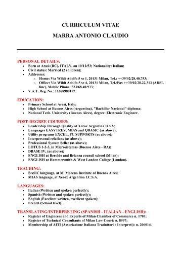 Curriculum Vitae Claudio Ricardo Lazzari Scd Fres Irbi