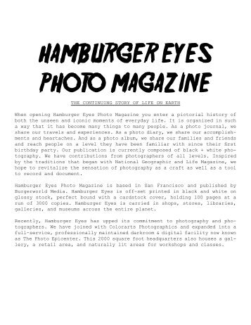 HAMBURGER EYES PHOTO MAGAZINE