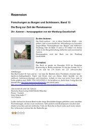 Rezension Forschungen zu Burgen und Schlössern, Band 13 Die ...