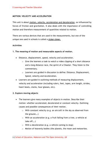 Displacement, Velocity & Acceleration Worksheet