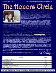 October, 2012 UTSA Honors College Newsletter - The University of ...