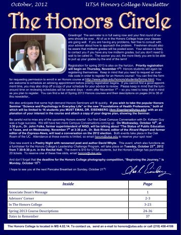 October, 2012 UTSA Honors College Newsletter - The University of ...