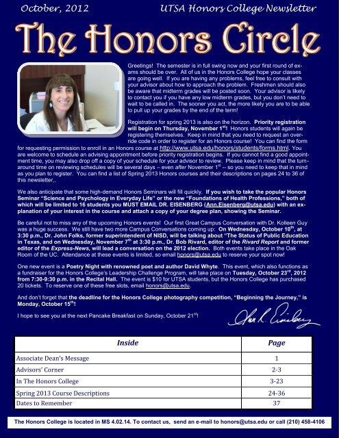 October 2012 Utsa Honors College Newsletter The